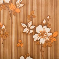 "Retro tapet - brun""stribet"" m blomster i beige og orange, 8 meter"