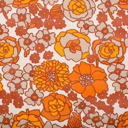Retro tapet - kæmpe orange/brune blomster, 8 meter