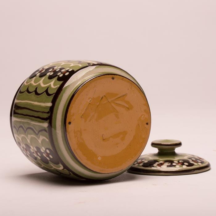 Kähler keramik marmeladekrukke, grønmønstret m HAK-signatur | Retrovintage.dk
